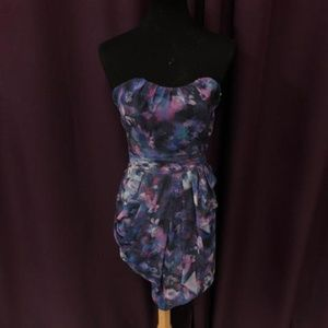 Guess Strapless Purple Floral Dress